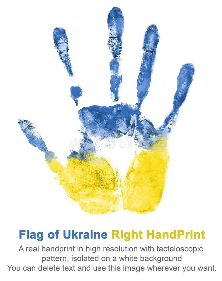 与右手油漆的版本记录在全国乌克兰旗子、蓝色和黄色的颜色的 库存图片
