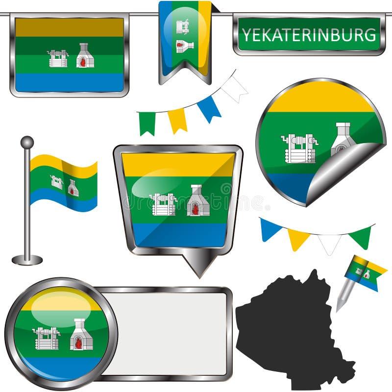与叶卡捷琳堡旗子的光滑的象  免版税图库摄影