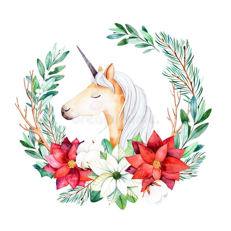 与叶子、分支、冷杉木、棉花花、一品红和逗人喜爱的独角兽的明亮的花圈 向量例证