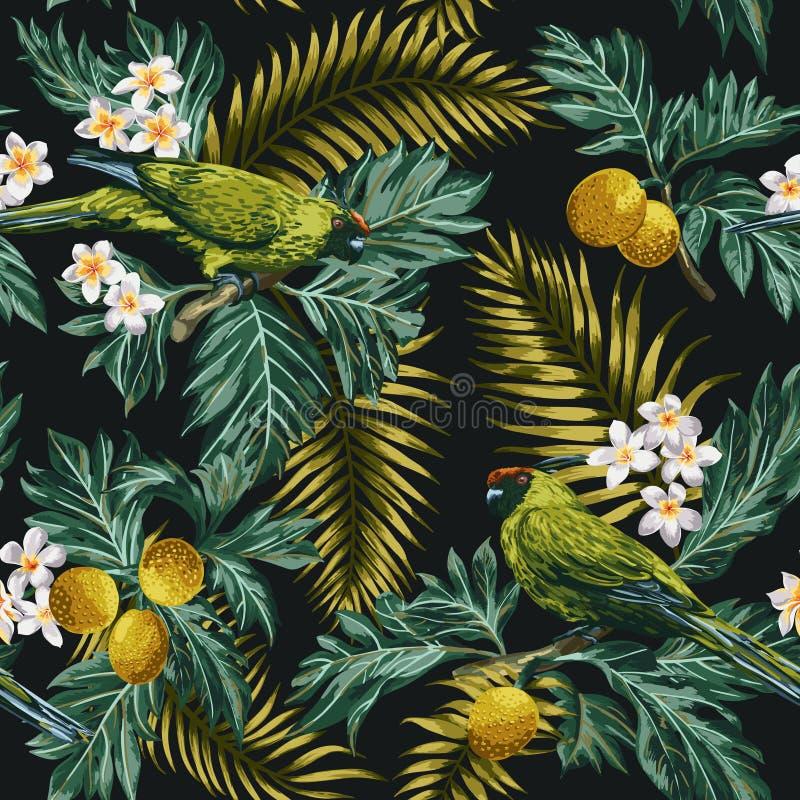 与叶子、花和鹦鹉的无缝的热带样式 库存例证