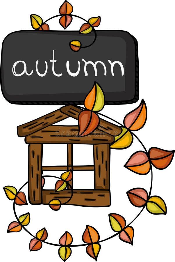 与叶子和一点木屋的秋天秋天 皇族释放例证