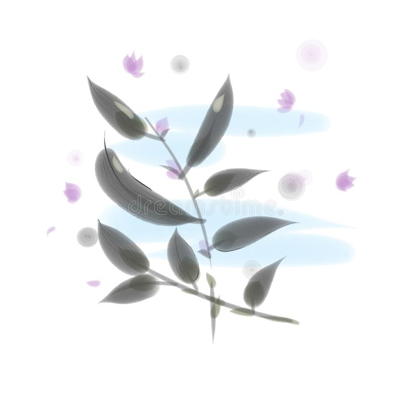 与叶子和丁香花的两个分支 库存图片