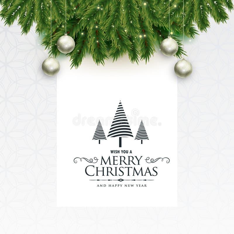 与叶子和球的圣诞快乐可爱的问候 向量例证