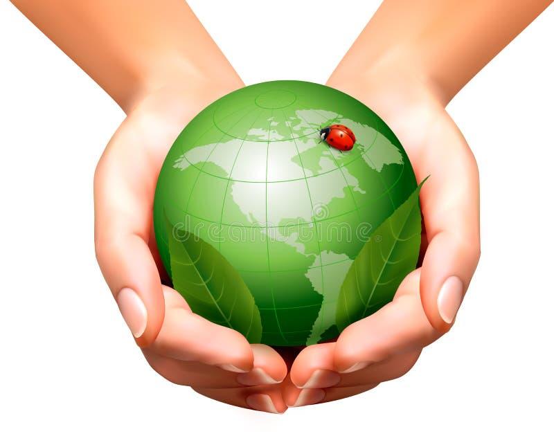 与叶子和瓢虫的绿色世界在妇女手上 向量例证