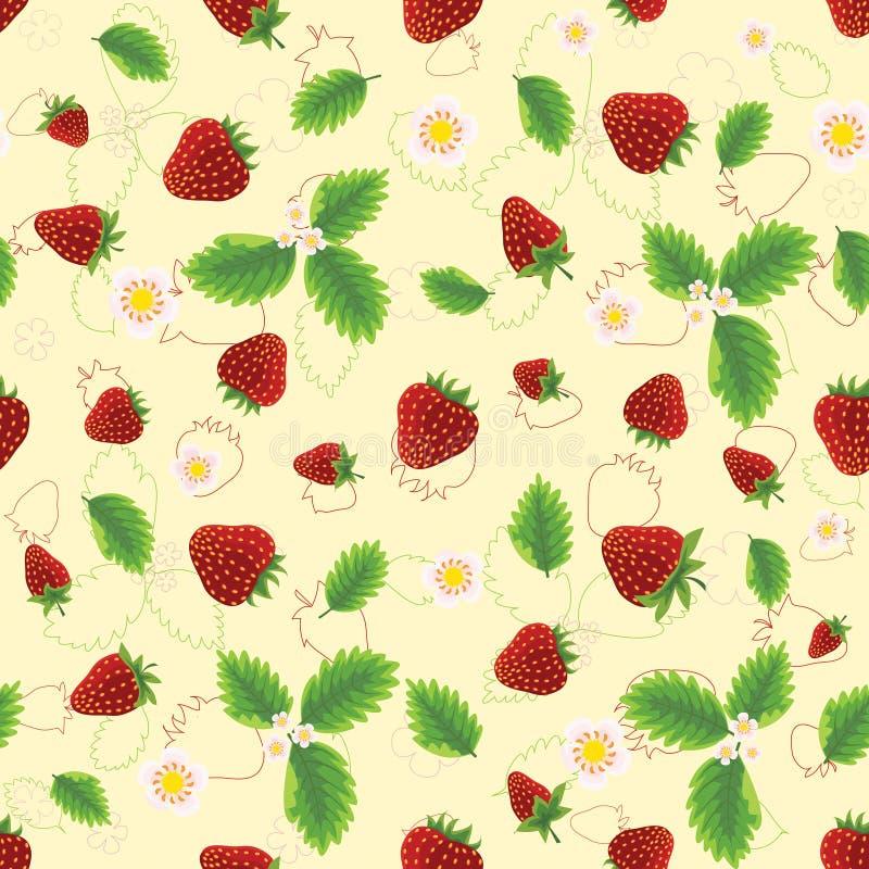 与叶子和花的草莓 库存照片