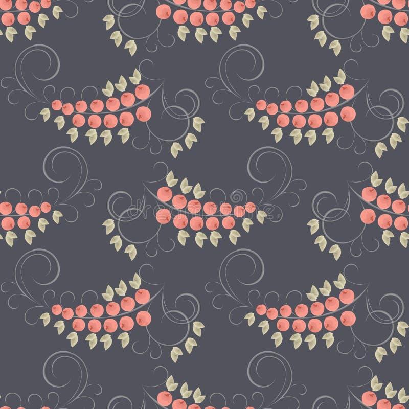 与叶子和莓果的无缝的样式 库存例证
