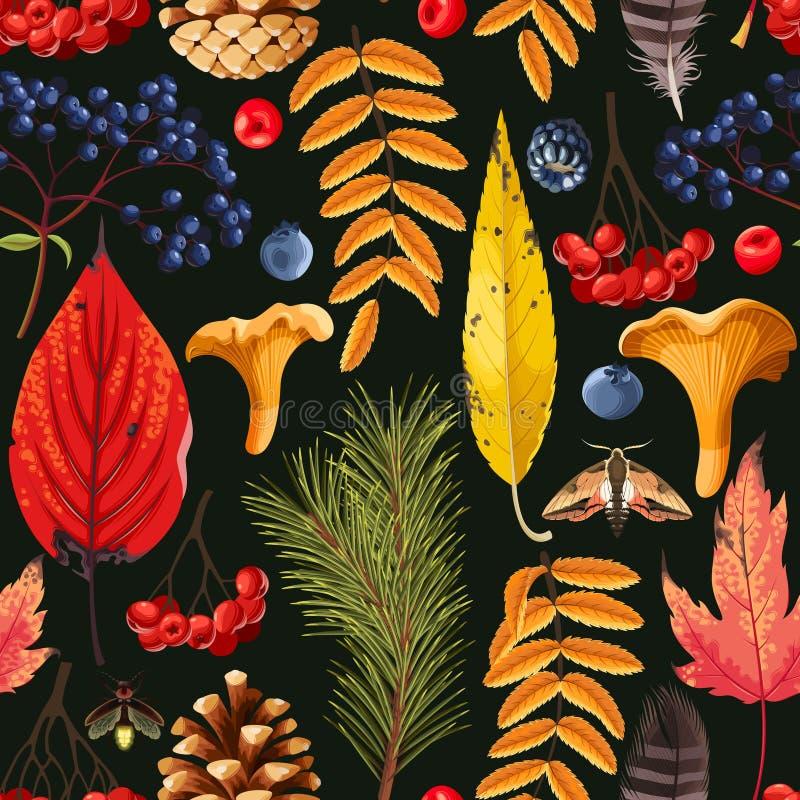 与叶子和莓果的秋天样式 向量例证