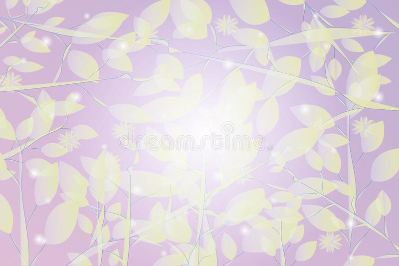 与叶子和落的雪样式的抽象紫色背景 库存例证