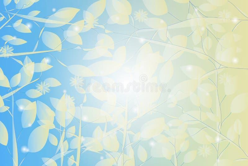 与叶子和落的雪样式的抽象蓝色和黄色背景 库存例证
