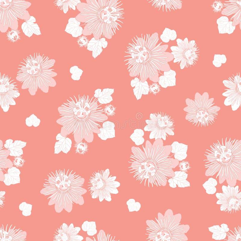 与叶子和野花的传染媒介珊瑚桃红色无缝的样式 适用于纺织品、缎带包装和墙纸 皇族释放例证