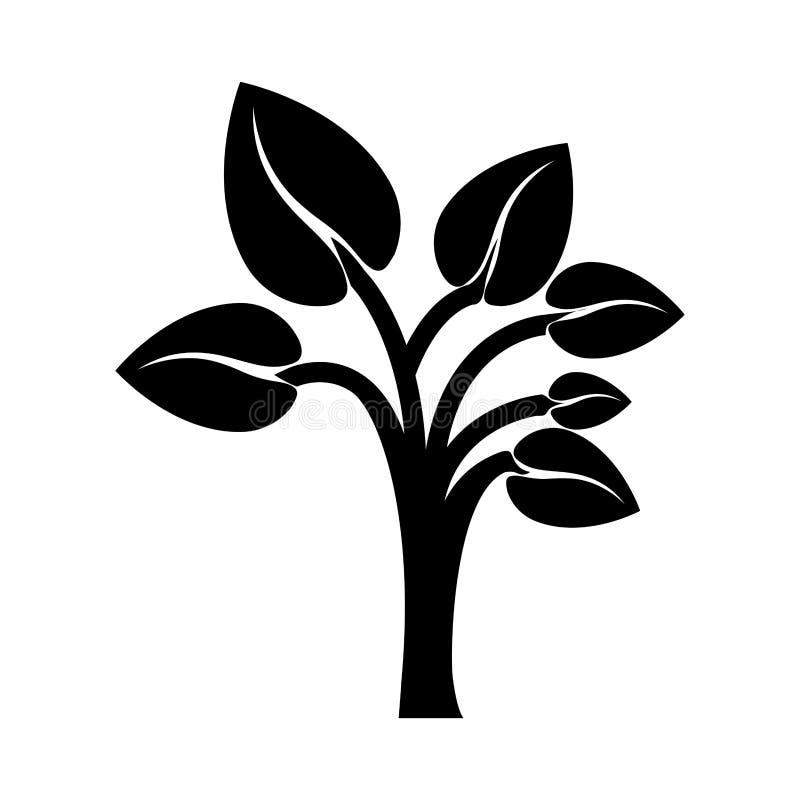 与叶子形状心脏的黑颜色树干对相反 向量例证