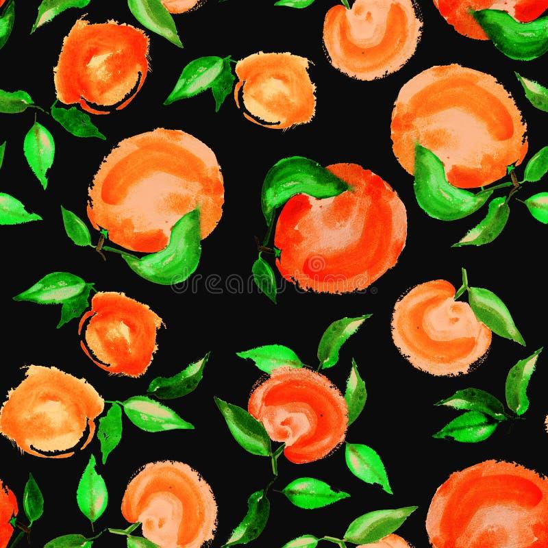与叶子无缝的样式的水彩桔子在黑背景 向量例证
