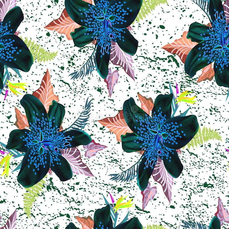 与叶子无缝的样式的美丽的霓虹花 库存例证
