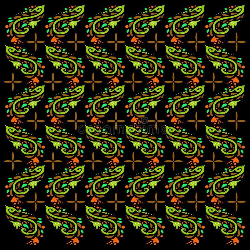 与叶子样式的现代蜡染布 向量例证