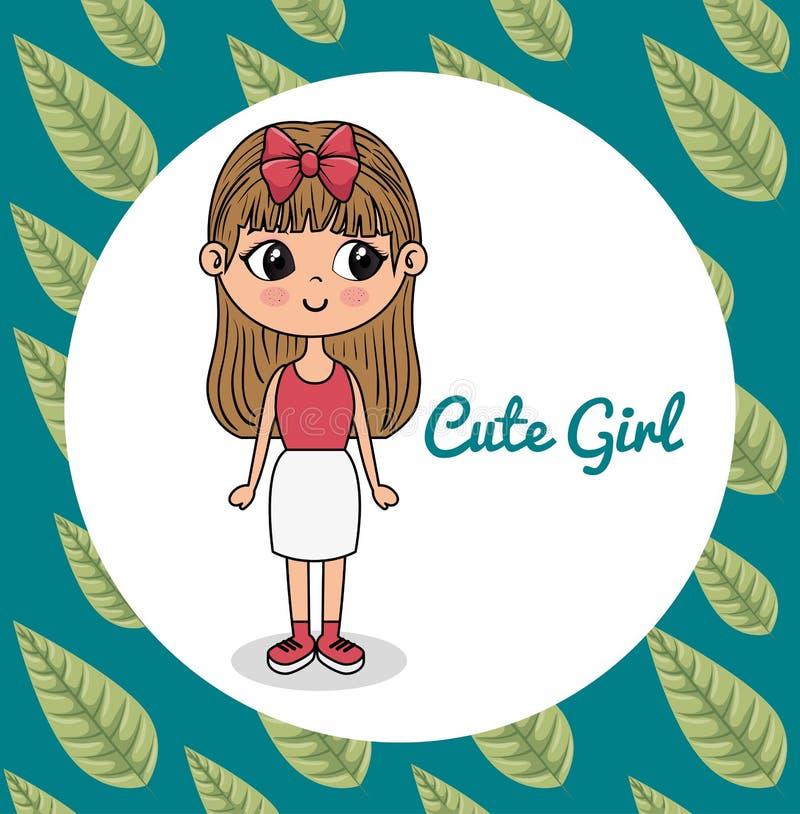 与叶子框架的逗人喜爱的女孩字符 向量例证