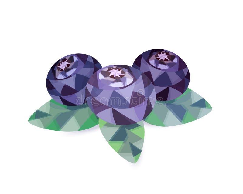 与叶子的三个蓝莓在仿照低多样式的白色背景 库存例证