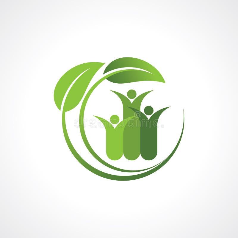 与叶子的不伤环境的标志 向量例证