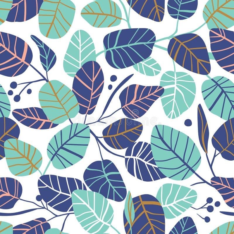 与叶子的传染媒介典雅的无缝的样式 婚姻的不尽的背景 在桃红色和蓝色颜色的叶子 向量例证