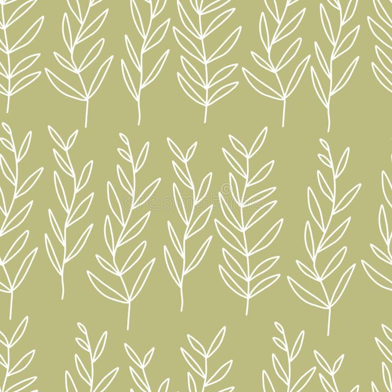 与叶子的典雅的淡色无缝的背景 在淡色的婚姻的样式 线艺术样式叶子 斯坎迪装饰 墙壁艺术, 向量例证