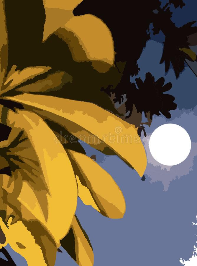 与叶子的墙纸在夜月亮作用 皇族释放例证