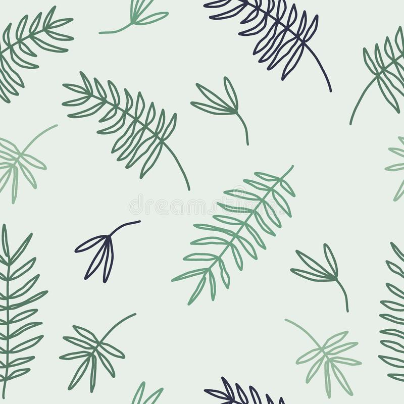与叶子的摘要春天无缝的样式在轻的背景的淡色绿色 斯坎迪装饰 墙壁艺术,墙纸, 皇族释放例证