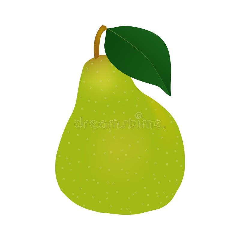 与叶子的新鲜的绿色梨 库存例证