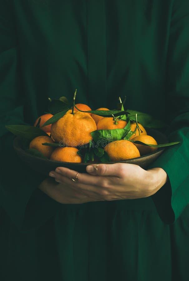 与叶子的新鲜的蜜桔果子在板材在女性手上 库存图片