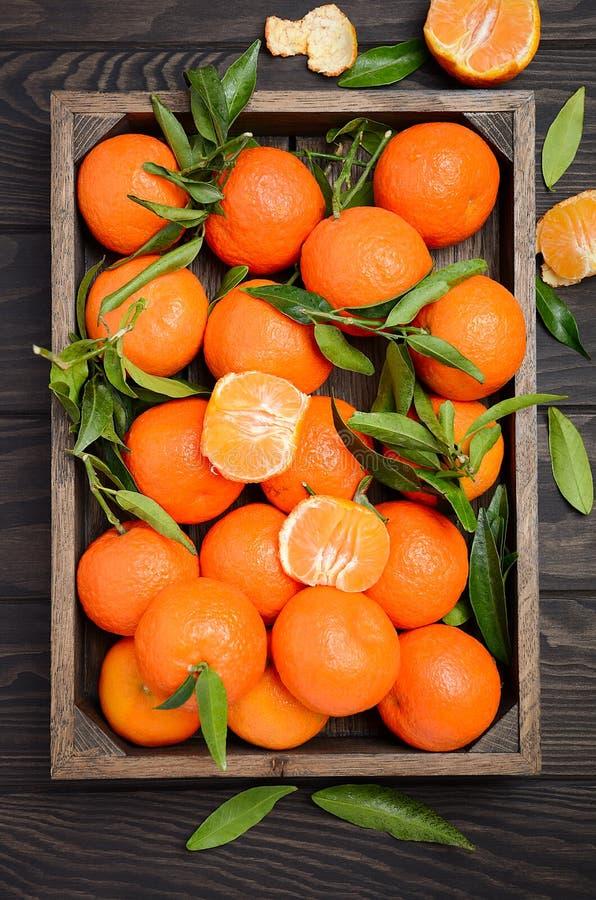 与叶子的新鲜的蜜桔柑桔在黑暗的木背景的木盘子 免版税库存照片