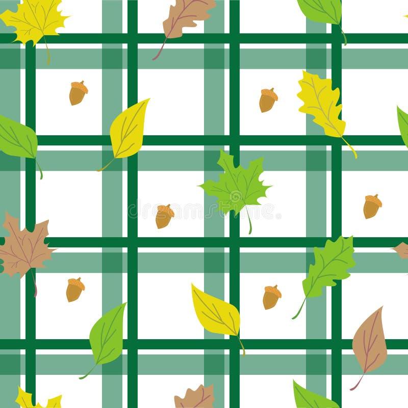 与叶子的无缝的方格的背景 库存例证