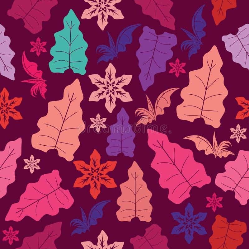 与叶子的无缝的样式和与非常美好的颜色的花卉主题 与夏天叶子主题的无缝的样式背景 向量例证