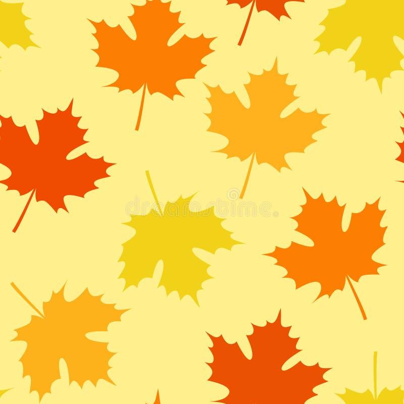 与叶子的无缝的秋天样式落 库存例证