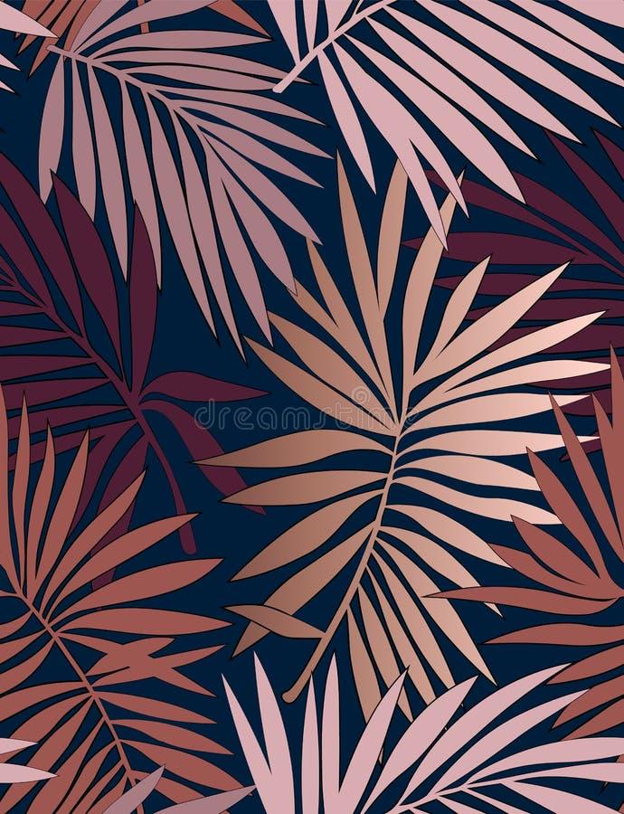 与叶子的热带无缝的样式 向量例证