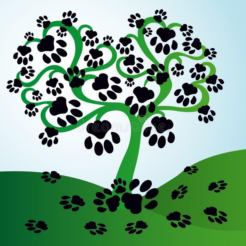 与叶子的树以猫的形式追踪 库存例证