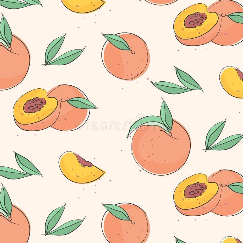 与叶子的桃子宏观果子 热带油桃墙纸,水多的有机食品样式 维生素纺织品盖子 表面 向量例证