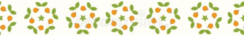 与叶子的水多的整个橙色柑桔花圈 手拉的无缝的传染媒介边界例证 库存例证
