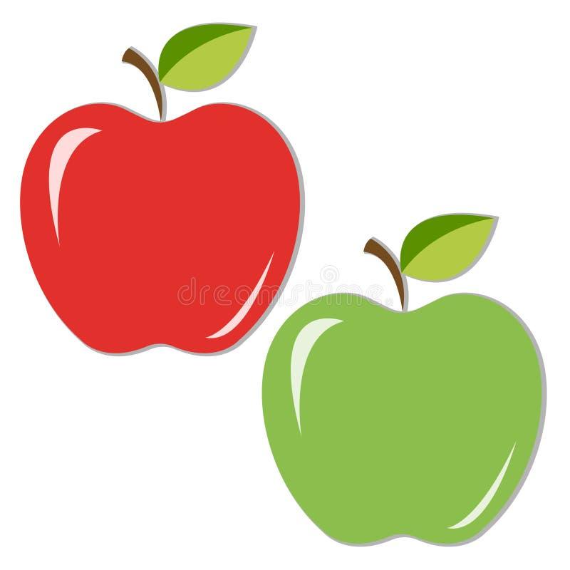 与叶子的水多的红色和绿色苹果 向量例证