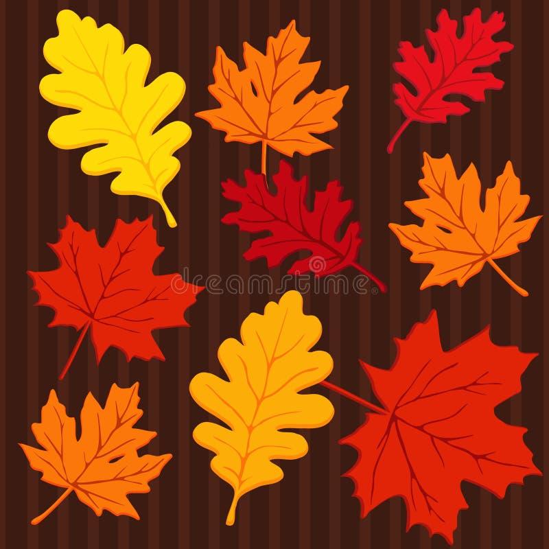 与叶子的秋天无缝的五颜六色的样式,例证 向量例证