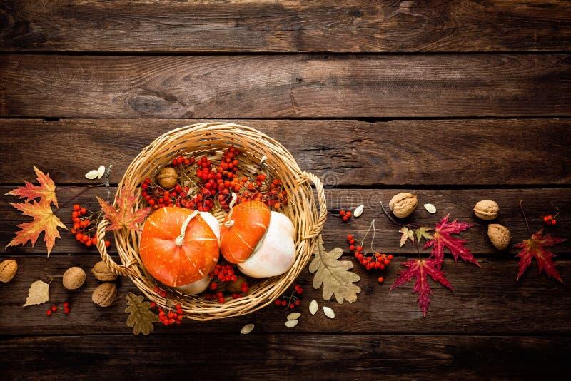 与叶子的秋天背景和南瓜、感恩和万圣夜卡片 免版税库存图片