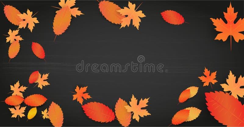 与叶子的秋天背景和您的文本的空的空间 在黑委员会背景的模板 广告概念 ?? 向量例证