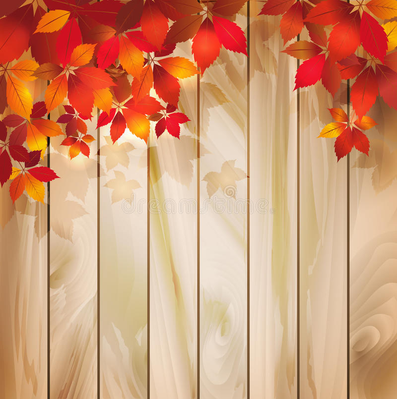 与叶子的秋天背景在木纹理 向量例证