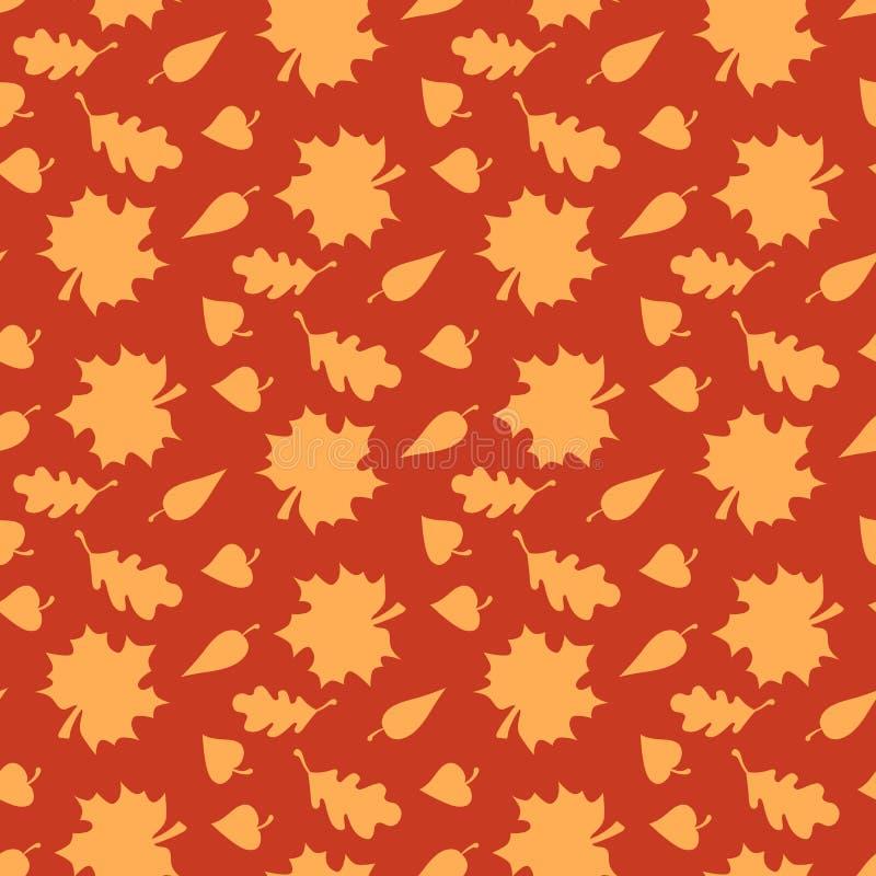 与叶子的秋天背景 不尽的无缝的样式 向量例证