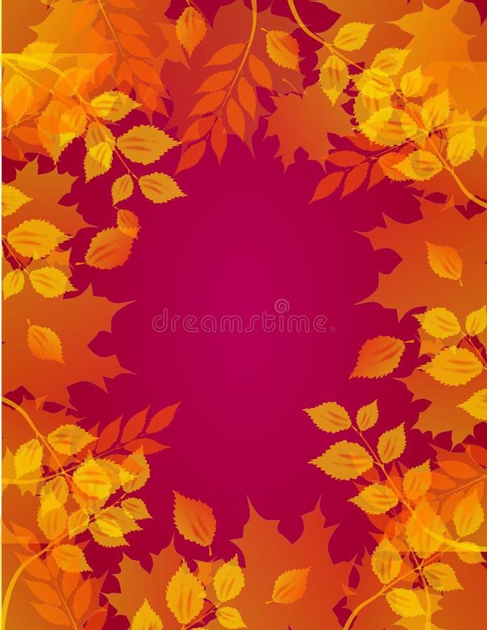 与叶子的秋天背景 皇族释放例证