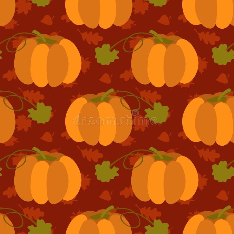 与叶子的秋季无缝的在棕色背景的样式和南瓜导航例证 感恩天概念 向量例证