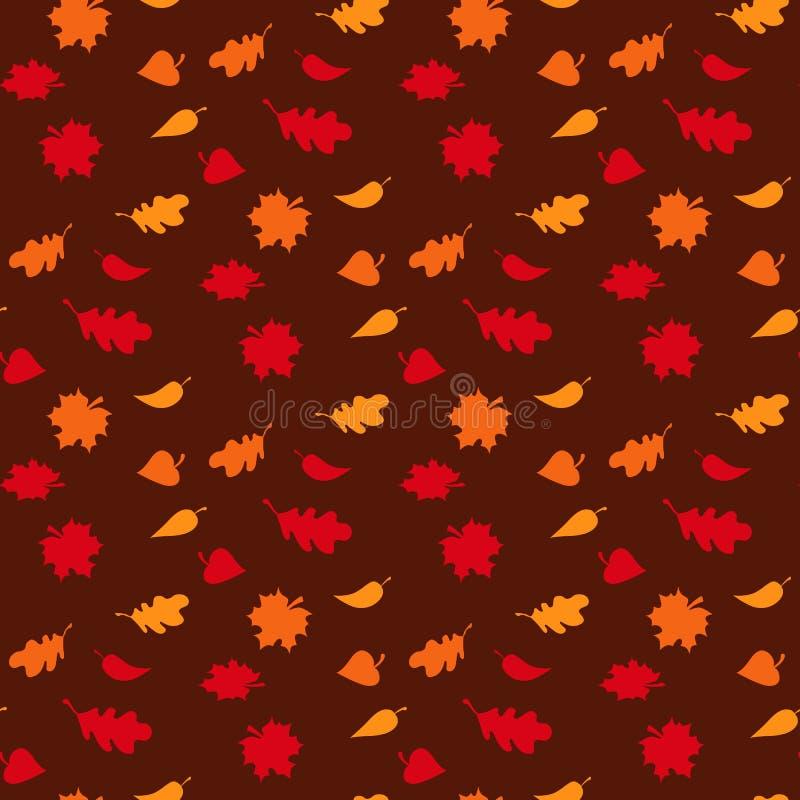 与叶子的秋季无缝的样式在棕色背景传染媒介例证 向量例证