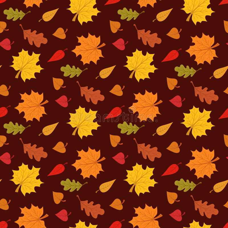 与叶子的秋季无缝的样式在棕色背景传染媒介例证 库存例证