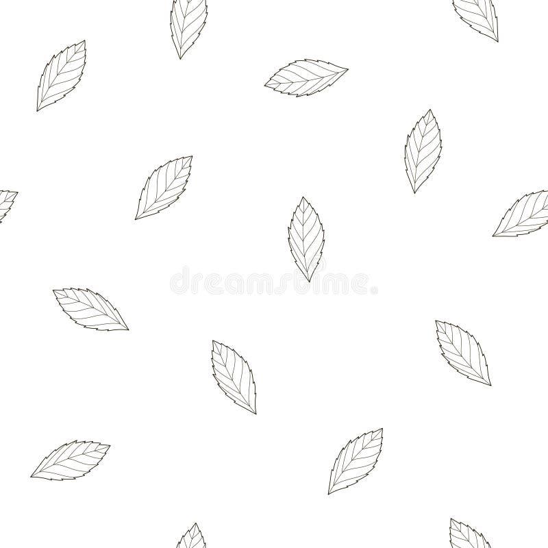 与叶子的简单的样式 库存例证