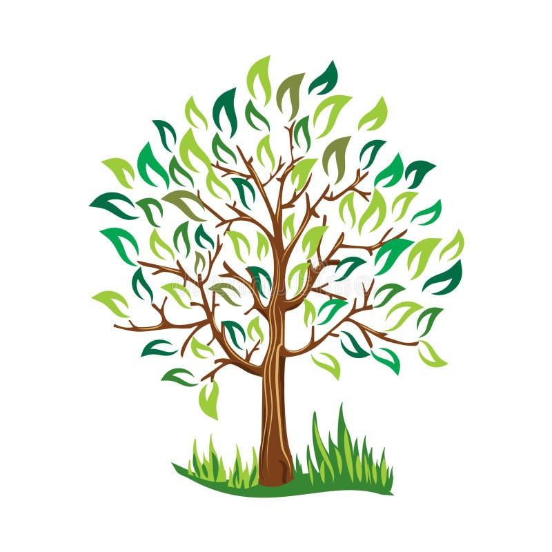 与叶子的绿色树导航风格化传染媒介 皇族释放例证