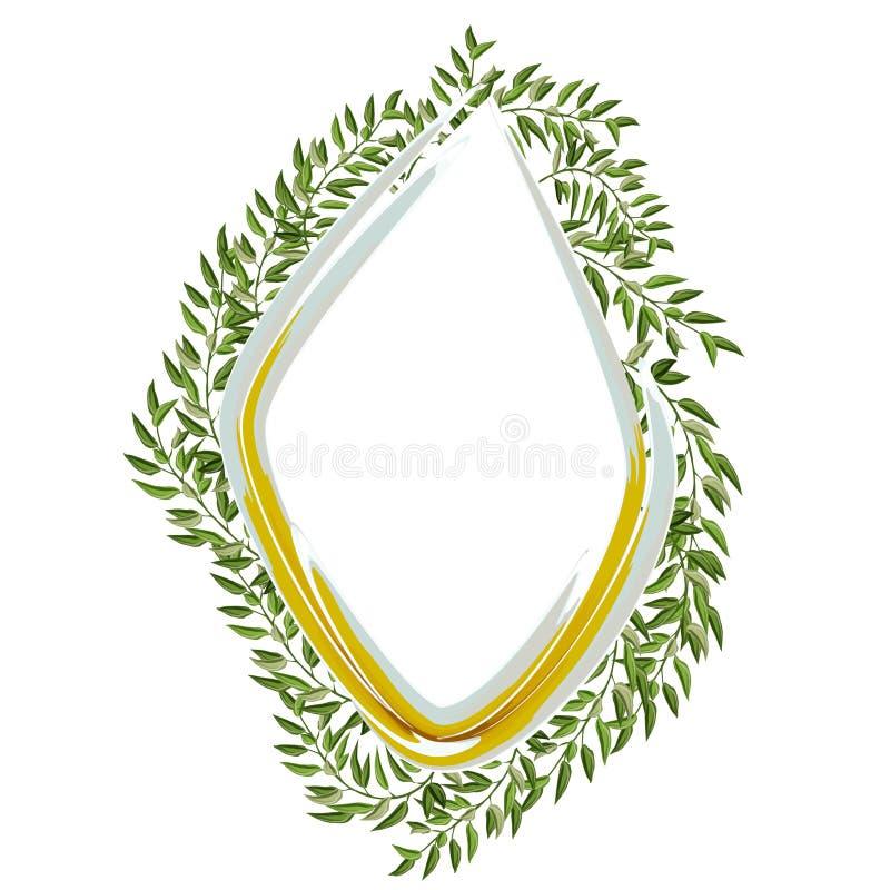 与叶子的绿色框架在白色背景的葡萄酒样式 被隔绝的传染媒介设计 向量例证