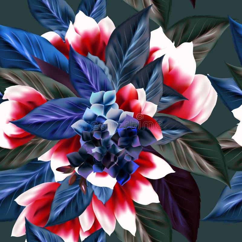与叶子的美好的花卉样式 库存例证