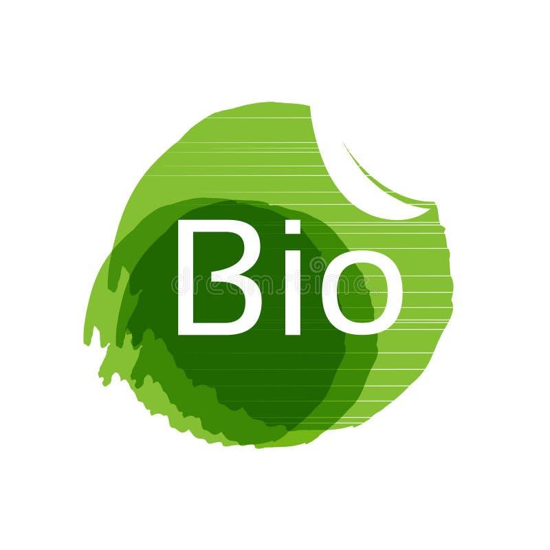 与叶子的自然圆标志,自然简单的元素,绿色水彩难看的东西标签 肮脏的斑点 生物标志 向量例证